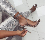 THIN HEELS LACED UP SANDALS IN SNAKE PRINT
