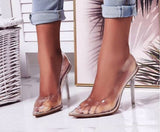 TRANSPARENT SANDALS WITH POINTED TOE