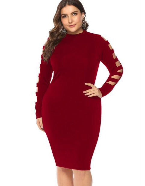 PLUS SIZE PENCIL DRESS IN WINE RED