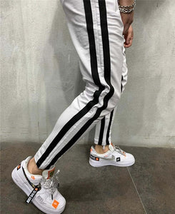 PENTAGON JOGGERS IN WHITE WITH BLACK STRIPE