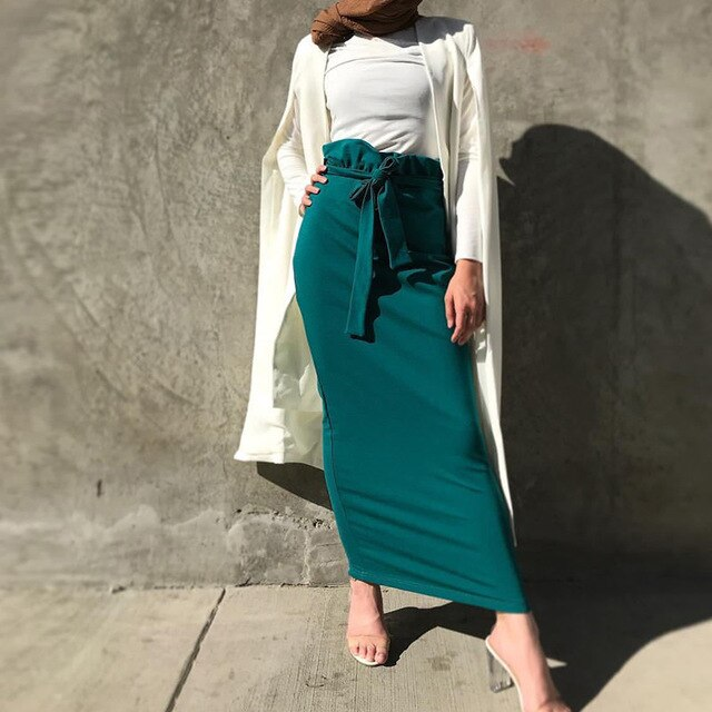 ELEGANT HIGH WAISTED SKIRT WITH BELT IN TURQUOISE