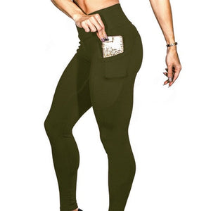 HIGH WAIST LEGGINGS WITH POCKETS IN GREEN