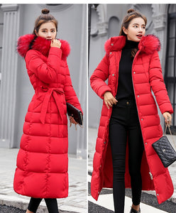 FULL LENGTH WINTER COAT WITH BELT IN RED