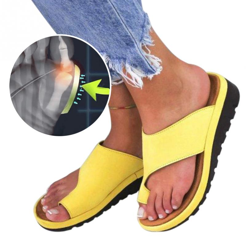 LEATHER BUNION CORRECTOR SLIDES IN YELLOW