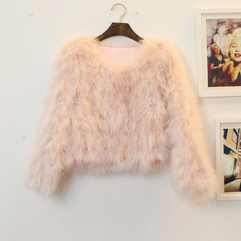 OSTRICH WOOL FAUX FUR COAT IN BARE PINK