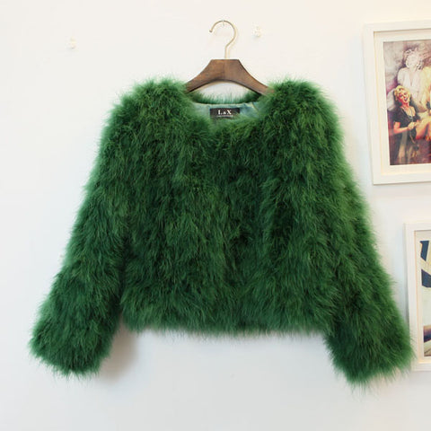 OSTRICH WOOL FAUX FUR COAT IN DARK GREEN
