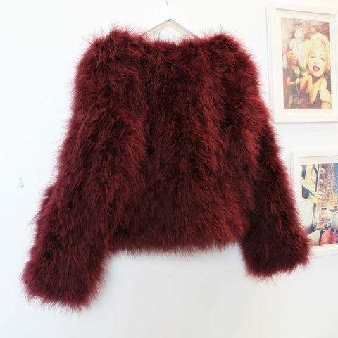 OSTRICH WOOL FAUX FUR COAT IN WINE