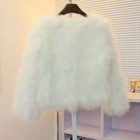 OSTRICH WOOL FAUX FUR COAT IN WHITE