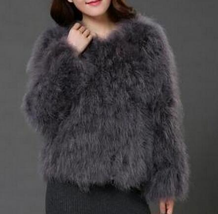 OSTRICH WOOL FAUX FUR COAT IN DARK GREY