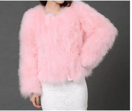 OSTRICH WOOL FAUX FUR COAT IN PINK