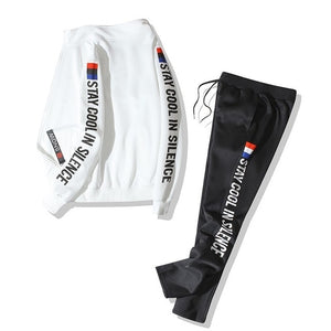 STAY COOL IN SILENCE TRACKSUIT IN WHITE & BLACK