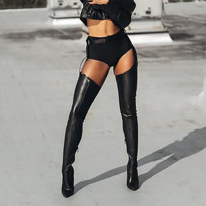 RIHANNA STYLE OVER THE KNEE BOOTS WITH STRAP IN BLACK