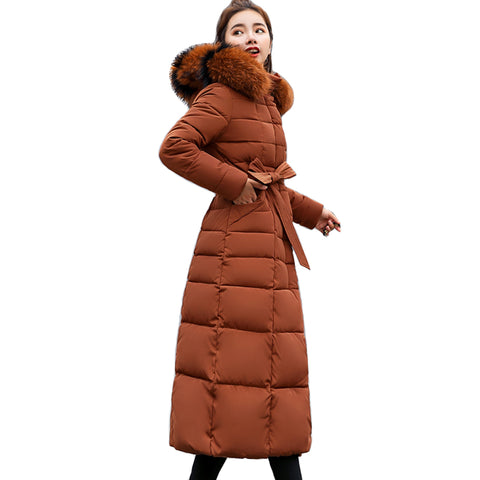 FULL LENGTH WINTER COAT WITH BELT IN CARAMEL