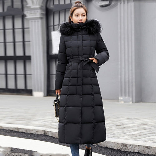 FULL LENGTH WINTER COAT WITH BELT IN BLACK