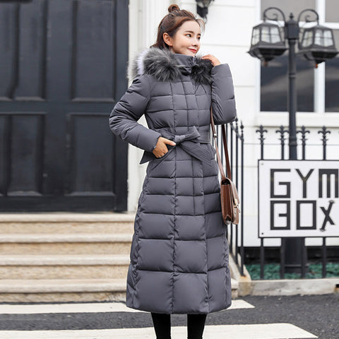 FULL LENGTH WINTER COAT WITH BELT IN GREY