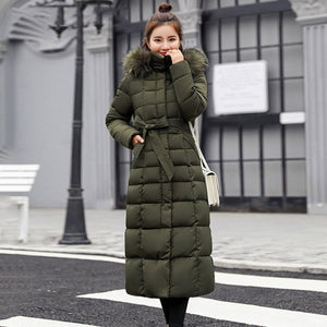 FULL LENGTH WINTER COAT WITH BELT IN ARMY GREEN