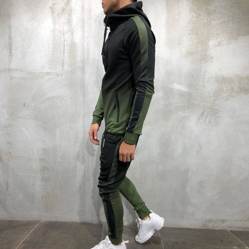 TWO TONED TRACKSUIT IN GREEN/GREY