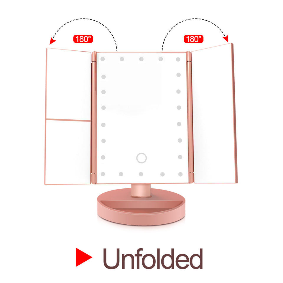 FOLDING ADJUSTABLE MAKEUP MIRROR WITH 22 LED LIGHTS IN PINK