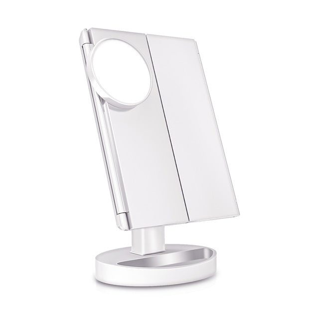 FOLDING ADJUSTABLE MAKEUP MIRROR WITH 22 LED LIGHTS IN WHITE