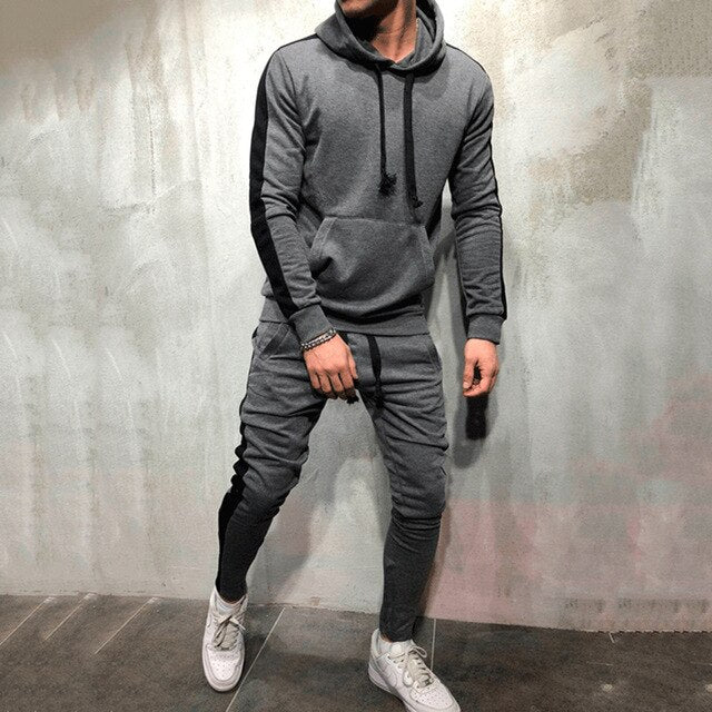 GREY TRACKSUIT WITH BLACK STRIPE