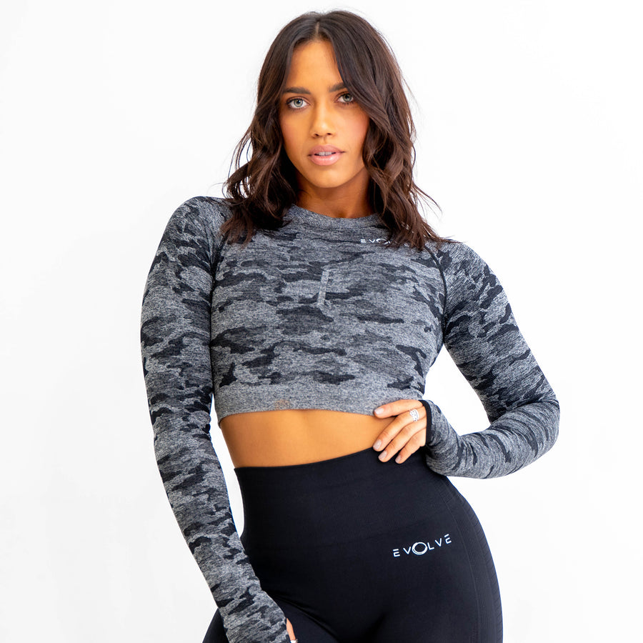 Rebel Seamless Crop Top (Black) - EVOLVE FASHION