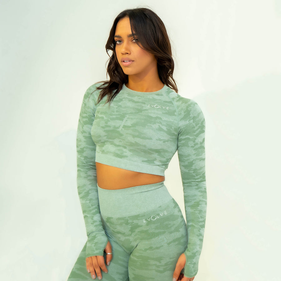 Rebel Seamless Crop Top (Light Green) - EVOLVE FASHION