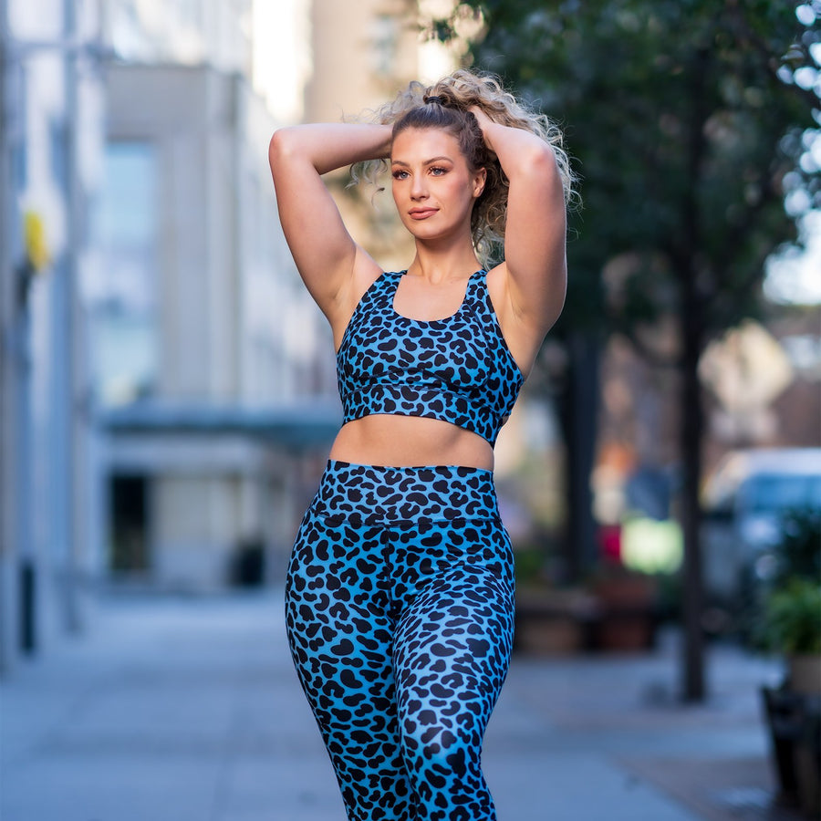 Adore Sports Bra - Blue Leopard - EVOLVE FASHION