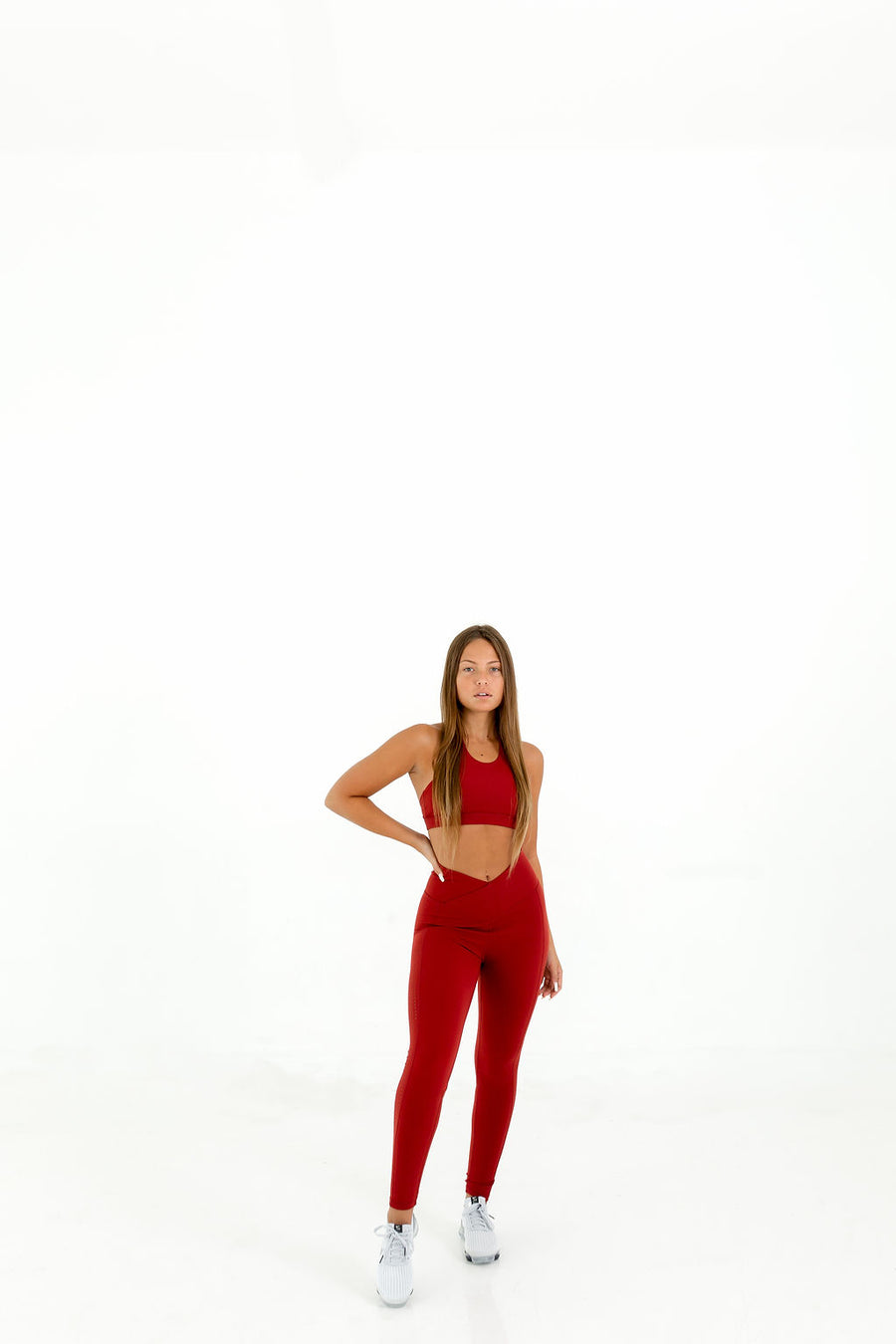 Queen Vee Leggings (Brick Red) - EVOLVE FASHION