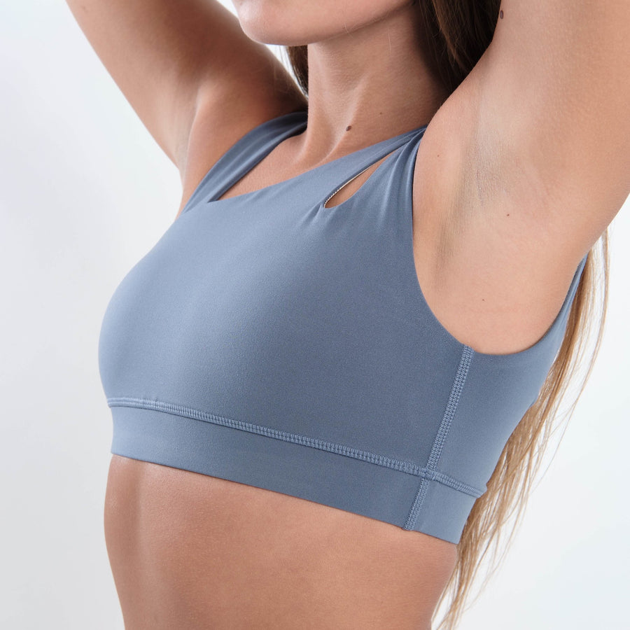 Rebel Sports Bra (Light Blue) - EVOLVE FASHION