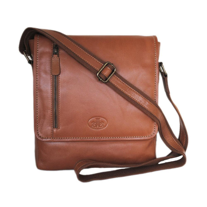 Rowallan Large North South Messenger Bag Tan Brown Leather