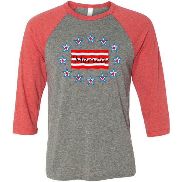 'Merica Unisex Three-Quarter Sleeve Baseball T-Shirt