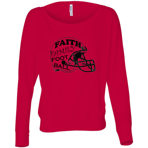 Faith Family Football Women's Flowy Long Sleeve Off Shoulder Tee