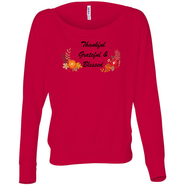 Grateful Thankful Blessed Women's Flowy Long Sleeve Off Shoulder Tee