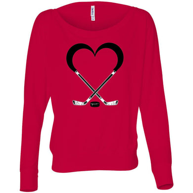Love Hockey Women's Flowy Long Sleeve Off Shoulder Tee