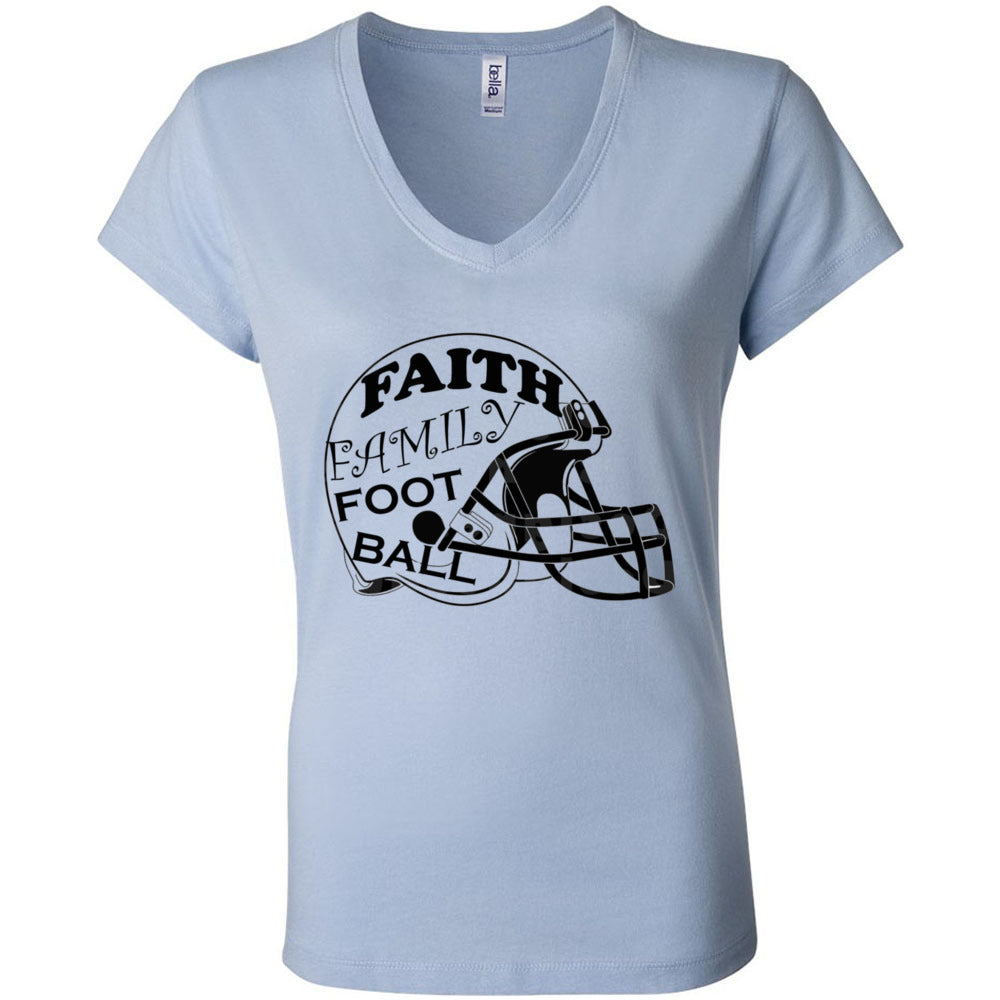 Faith Family Football  Women's Short Sleeve Jersey V-Neck Tee