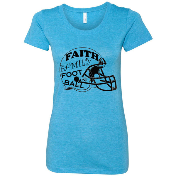 Faith Family Football Women's Triblend Short Sleeve Tee
