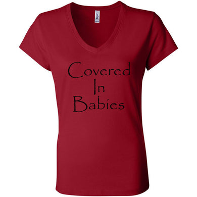 Covered In Babies Women's Short Sleeve Jersey V-Neck Tee