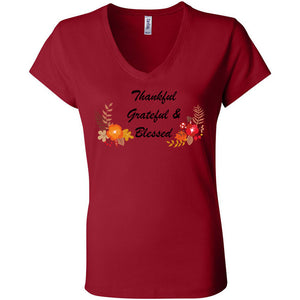 Grateful Thankful Blessed Women's Short Sleeve Jersey V-Neck Tee
