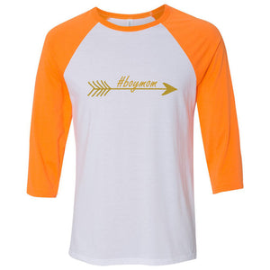 #boymom Unisex Three-Quarter Sleeve Baseball T-Shirt