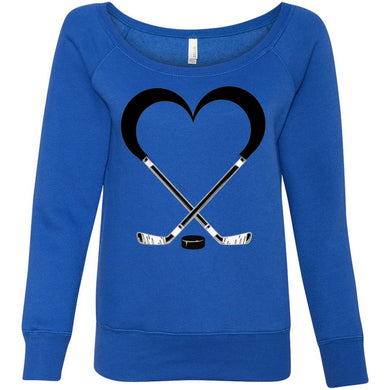 Love Hockey Women's Sponge Fleece Wideneck Sweatshirt