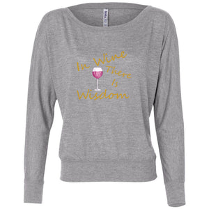 Wine & Wisdom Women's Flowy Long Sleeve Off Shoulder Tee