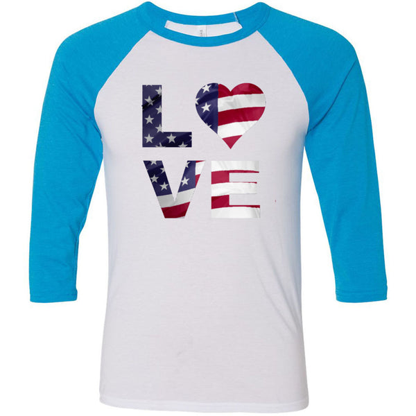 Love USA Unisex Three-Quarter Sleeve Baseball T-Shirt