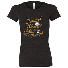 Load image into Gallery viewer, Stressed, Blessed, Obsessed Women's Triblend Short Sleeve Tee
