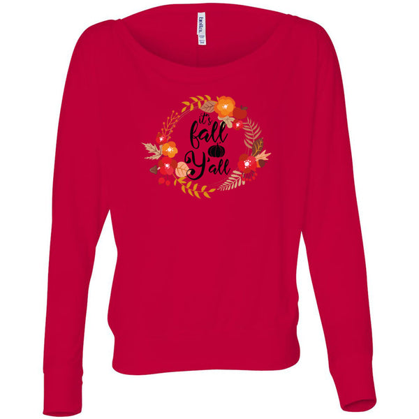Fall Y'all Women's Flowy Long Sleeve Off Shoulder Tee