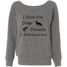Load image into Gallery viewer, Dogs, Donuts, Decisions Women's Sponge Fleece Wideneck Sweatshirt