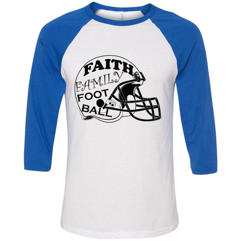 Faith Family Football Unisex Three-Quarter Sleeve Baseball T-Shirt