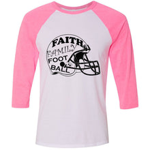 Load image into Gallery viewer, Faith Family Football Unisex Three-Quarter Sleeve Baseball T-Shirt