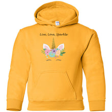 Load image into Gallery viewer, Live, Love, Sparkle Heavy Blend Youth Hooded Sweatshirt