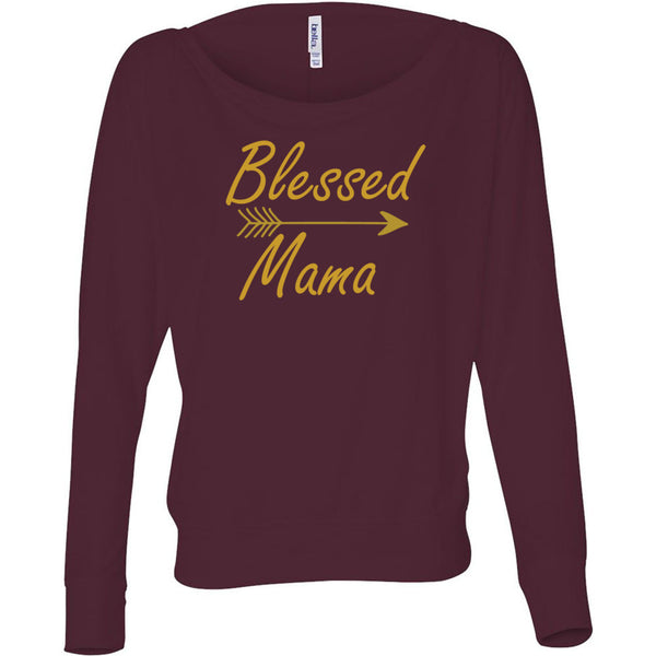Blessed Mama Women's Flowy Long Sleeve Off Shoulder Tee