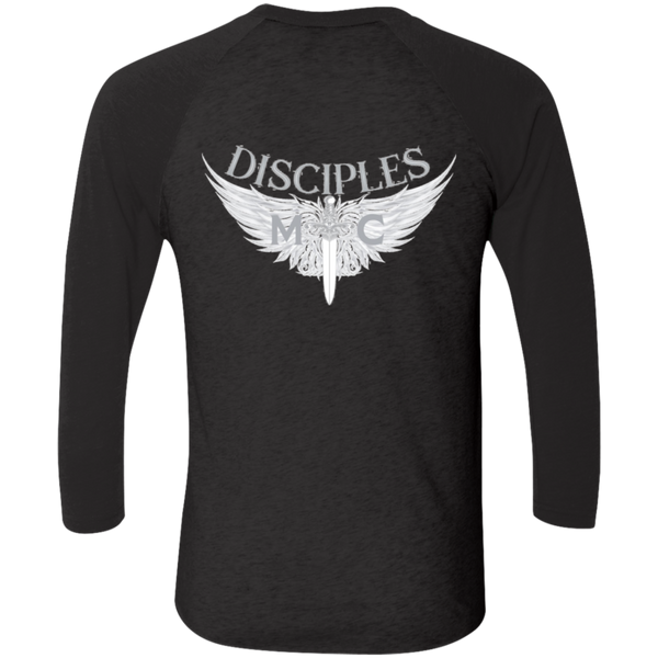 Disciples MC White Axel Tri-Blend 3/4 Sleeve Baseball Raglan T-Shirt